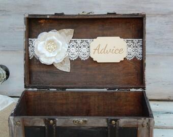 Rustic Advice Box/ Rustic Wedding Decor/ Wedding Advice Box/ Advice Box/ Shabby Chic Advice Box/Well Wishes/ Keys to a Happy Marriage