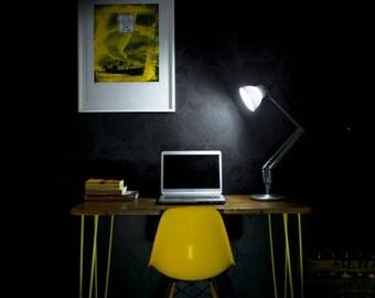 Mid Century Desk - Designer Office Table - Bespoke Restaurant Bar Cafe - Reclaimed School Desk - Steel Hairpin Legs - Select from 10 Colours