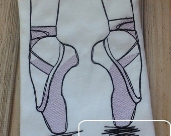 Ballet Shoes Sketch Embroidery Design - Ballerina Sketch Embroidery Design - Ballet Sketch Embroidery Design - toe shoe Sketch Embroidery