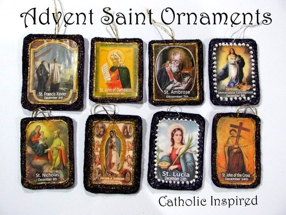 Advent Saint Ornaments {8 Sparkly Images}