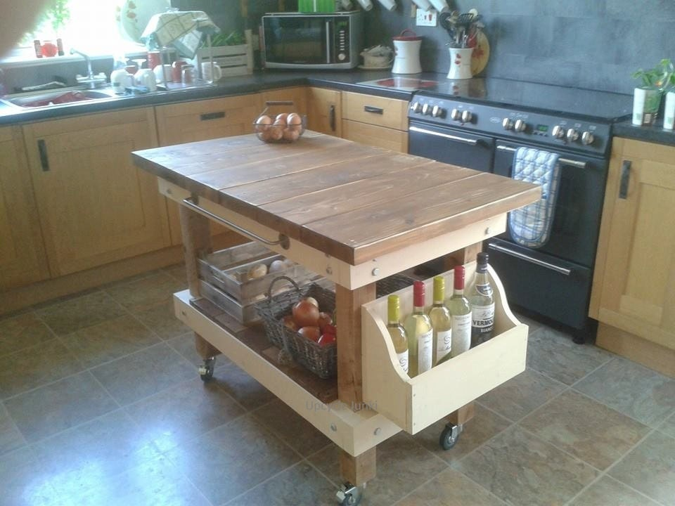 Handmade rustic farmhouse butchers block style kitchen island