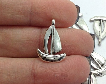 50 Sail Boat Charms, Silver Boat Charms, Nautical Charms, Beach Charms, Bulk Charms (5-1117)