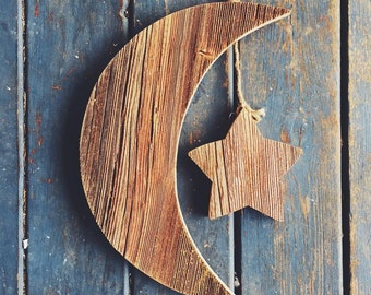 Rustic Authentic Michigan Barn Wood Crescent Moon Wall Hanging Sign With Star
