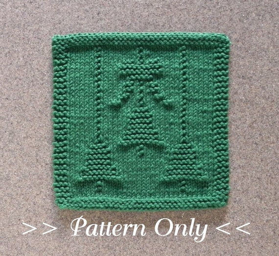 Christmas bells bow knit dishcloth pattern pdf instant for Knitted christmas bells