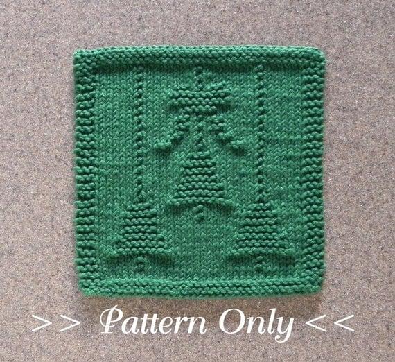 Christmas Dishcloth Knitting Patterns : Christmas bells bow knit dishcloth pattern pdf instant