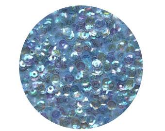 4mm Cup Sequins Soft Pale Blue Rainbow Iris Crystal Loose Paillettes.