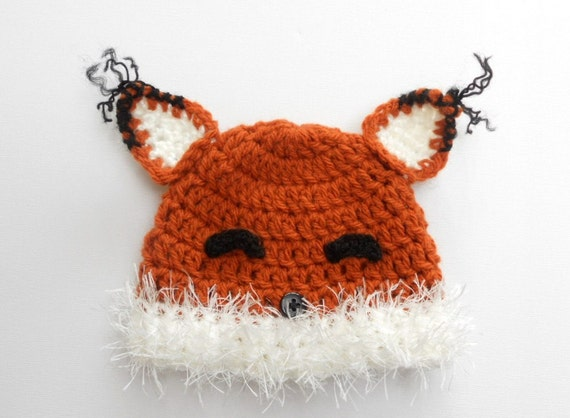 Crochet Fox Hat : Crochet fox hat, baby fox hat, fox beanie, newborn photo prop, newborn ...