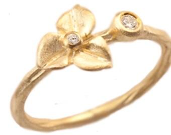 Hydrangea Blossom Diamond Engagement Ring, Stacking Ring, Diamond Flower Ring, 14kt Gold Flower, Hydrangea Ring. Handmade by Gevani Jewelry.