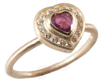 14kt Gold Ring, Heart Shaped Ruby Diamond Ring. Gevani Jewelry.