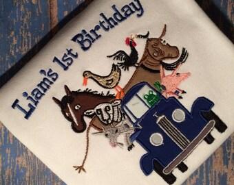 Little Blue Truck Birthday shirt or bodysuit