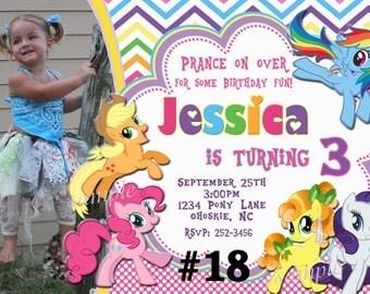 My Little Pony Invitation with Photo / You Print Digital File Birthday Invitation