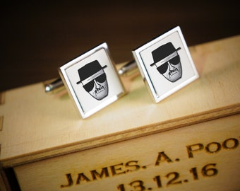 Breaking Bad Design cufflinks, Gift For Him, Birthday Gift Heisenberg design With personalised engraved wooden gift Box.