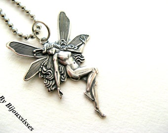 My romantic Fairy ... VN088 - Lovely silver necklace with pendant. - gift under 10