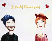 Valentines Day Gift - Custom Portrait - Mixed Media Original Illustration - Couples Gift Idea