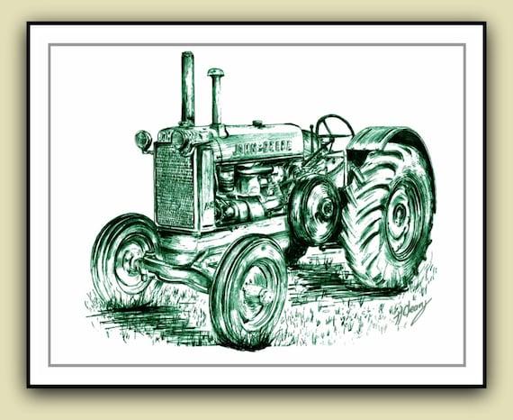 items similar to john deere vintage tractor drawing print