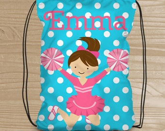 Personalized Drawstring Backpack for Kids - Cheerleader Backpack for Girls - Fabric Shoe Bag - Cheerleader Drawstring Backpack