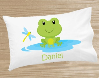 Personalized Kids' Pillowcase - Frog Pillowcase for Boys - Frog Pillow Case - Custom Frog Pillow Slip