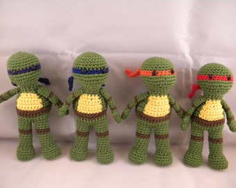 2 Teenage Mutant Ninja Turtles Amigurumi Dolls Made to Order