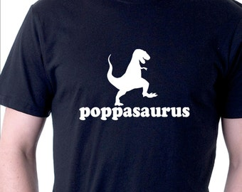 Funny t-shirt for Dad or Grandad. Poppasaurus.  mens cotton tee
