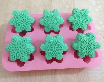 6-cavity Different Snowflake Cake Mold Mould Silicone Mold Biscuit Mold Chocolate Mold Soap Mold
