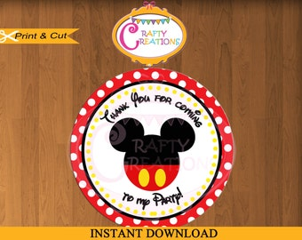 Mickey Mouse RED Favor Tags - Sticker- Party Tags- Thank You Tags- Gift Tags- Birthday - Printable- INSTANT DOWNLOAD - CraftyCrearionsUAE