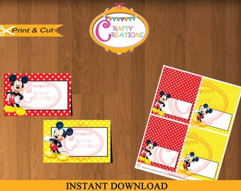 Mickey Mouse Food Labels - Printable Red and Yellow Mickey Food Tent Cards - Place Cards - Buffet Labels - Favor Labels -INSTANT DOWNLOAD