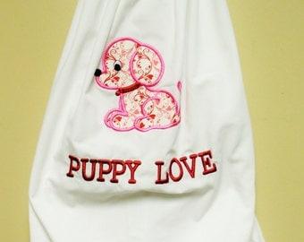 Girls pillowcase dress with puppy