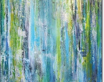 Canvas Art Acrylic Painting Abstract Textured Contemporary Art Landscape Turquoise Blue Original Wall Art Home Decor 24x24x1,5 60x60cmx3,6cm