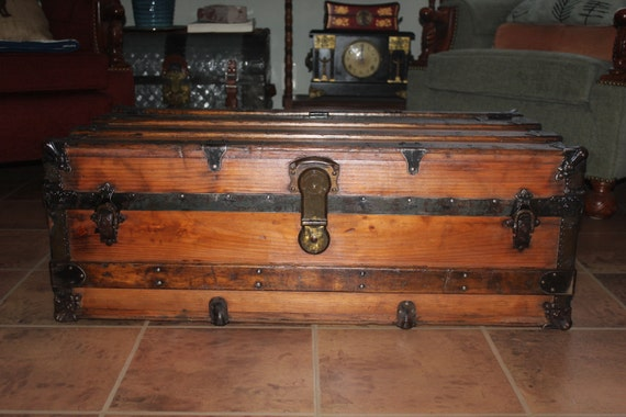 Refinished antique trunk coffee table perfect also for - Antique trunk coffee table ...