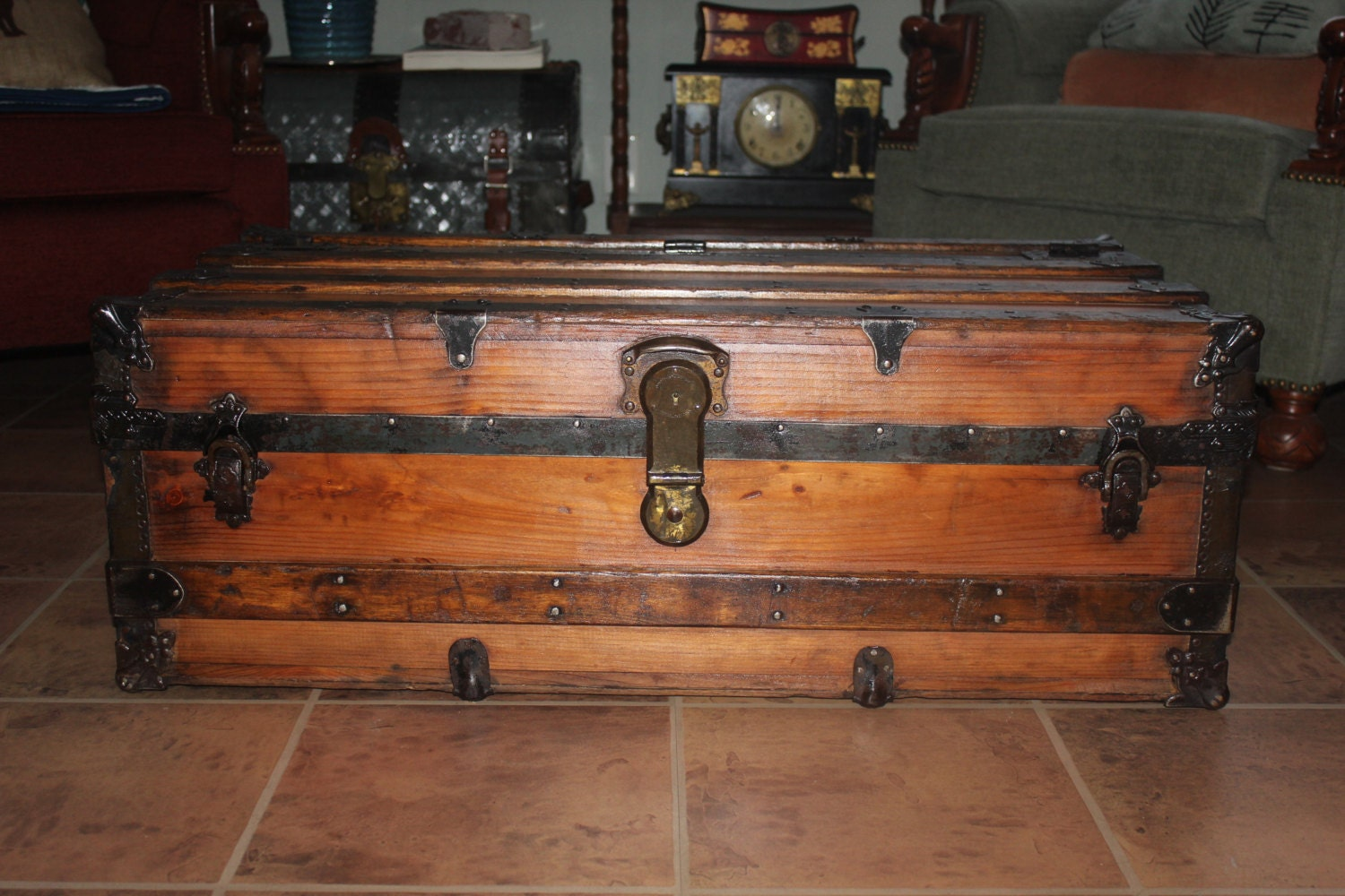 Refinished Antique Trunk Coffee Table Perfect Also For