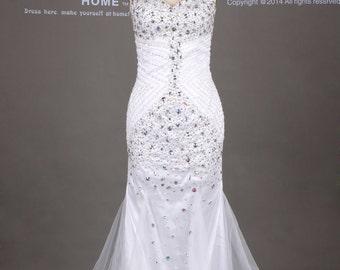 White Sweetheart Beading Mermaid Wedding Dress/Rhinestones Tulle Wedding Gown/Fishtail Wedding Gown/Beach Plus Size Wedding Dress DH349