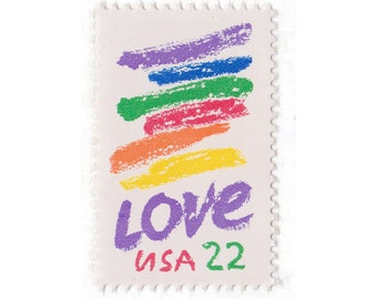 10 Unused Vintage Postage Stamps - 1985 22c Love Crayon - Item No. 2143