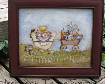 Chicken Peddling her Wares - Painted by Terrye French, E Pattern