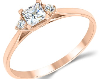 14K Solid Rose Gold CZ Cubic Zirconia 3 Stone Enagement Ring