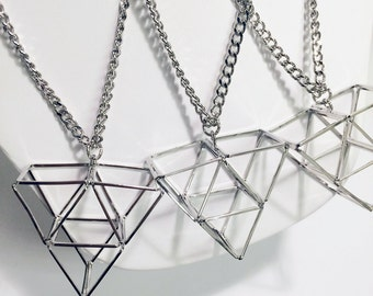 3-d triangle line pyramid necklace with silver chains