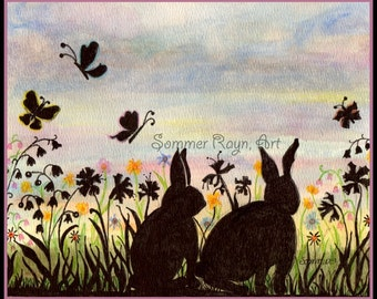 Rabbits in a Flower Garden, Bunnies, Easter, silhouette card or print, Watercolor, Item #0020a