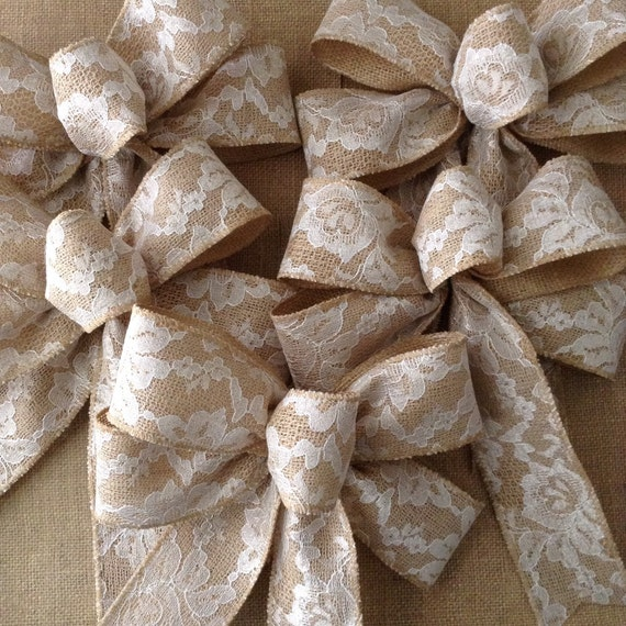 burlap and lace wedding bows