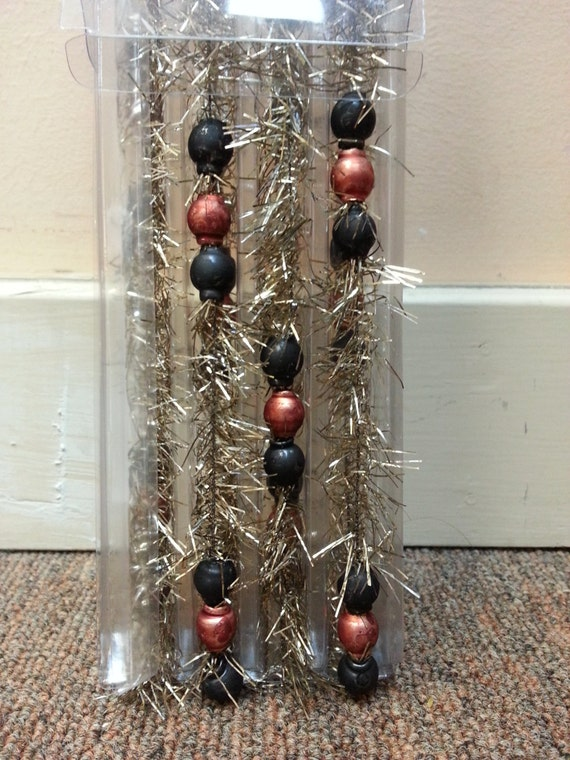 Halloween glass beaded tinsel garland vintage by rustictoybarn