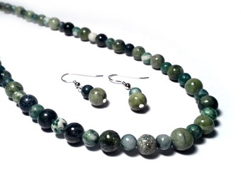 Agate and Saguaro Jasper Necklace and Earring Set;  Green Gemstone Necklace Set