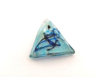 Pendant Large Blue Triangle Glass With Black Swirls
