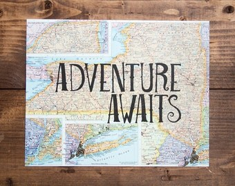 "New York Map Print, Adventure Awaits, Great Travel Gift, 8"" x 10"" Letterpress Print"