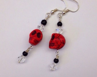 Small Red skull Earrings