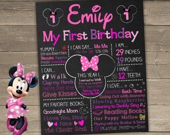 Minnie Mouse First Birthday Chalkboard, Minnie Mouse Chalkboard Sign, 1st Birthday Chalkboard, First Birthday Chalkboard Sign, Minnie Sign