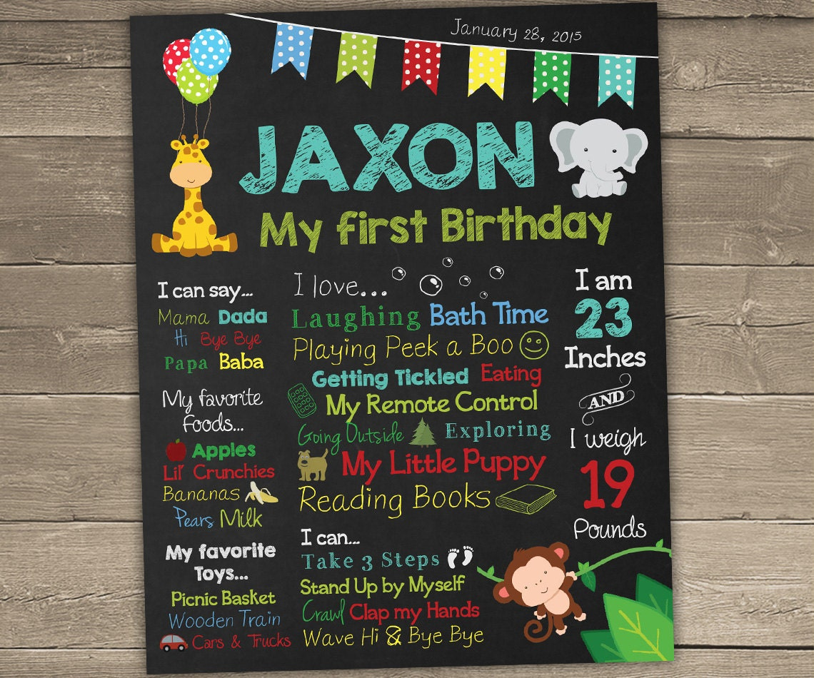 Jungle Theme First Birthday Chalkboard Sign Personalized And