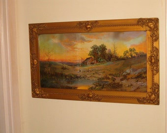 Antique Gold Gesso Frame with Stunning Vivid Art Titled The First Settlers Home