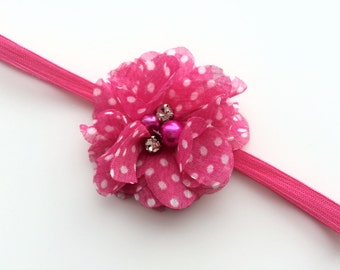 Newborn Headband Photo Prop -Hot Pink Polka Dot Flower Head Band for Infant -Hot Pink Skinny Elastic Headband for Newborn-Newborn Photo Prop