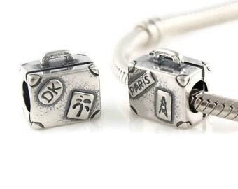 Sterling Silver Suitcase Charm for european bracelet - european charm