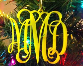 Personalized Custom Acrylic 3 Letter Monogram Christmas Ornament Wedding Christmas Ornament