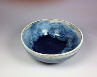 16oz Blue and White Bowl Handmade Pottery Ceramics