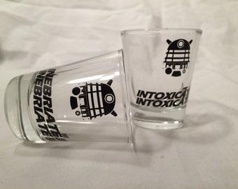 Doctor Who Dalek inspired pair of Dalek shot glasses, inebriate, intoxicate